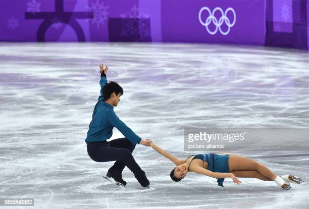 Miu Suzaki and Ryuichi Kihara from Japan in action during the figure skating pairs short program of the 2018 Winter Olympics in the Gangneung Ice...