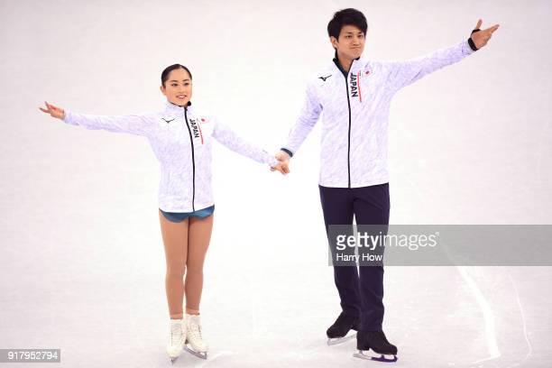 Miu Suzaki and Ryuichi Kihara of Japan are introduced before the Pair Skating Short Program on day five of the PyeongChang 2018 Winter Olympics at...