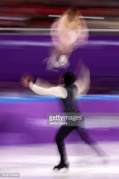 Miu Suzaki and Ryuichi Kihara of Japan compete in the Figure Skating Team Event – Pairs Free Skating on day two of the PyeongChang 2018 Winter...