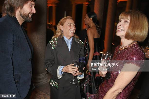 Miuccia Prada and Anna Wintour attend a private dinner hosted by Livia Firth following the Green Carpet Fashion Awards Italia at Palazzo Marino on...