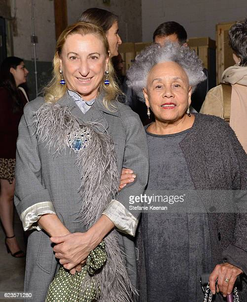 Miuccia Prada and artist Betye Saar attend the premiere of 'Past Forward' a movie by David O Russell presented by Prada on November 15 2016 at Hauser...