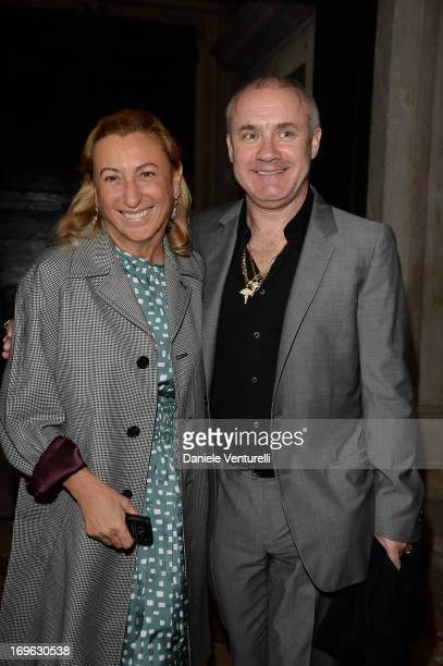 Miuccia Prada and Damien Hirst attend a private lunch and preview of When Attitudes Become Form Bern 1969/Venice 2013 hosted by Miuccia Prada and...