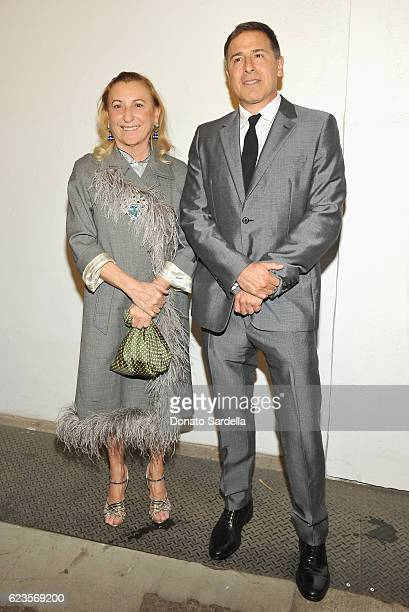 Miuccia Prada and Director David O Russell attend the premiere of 'Past Forward' a movie by David O Russell presented by Prada on November 15 2016 at...