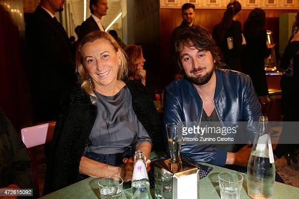Miuccia Prada and Francesco Vezzoli attend the Fondazione Prada Opening on May 8 2015 in Milan Italy
