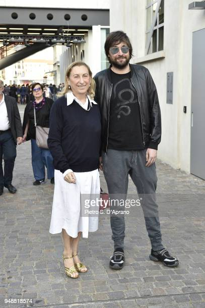 Miuccia Prada and Francesco Vezzoli attend the opening event of Torre at Fondazione Prada on April 19 2018 in Milan Italy