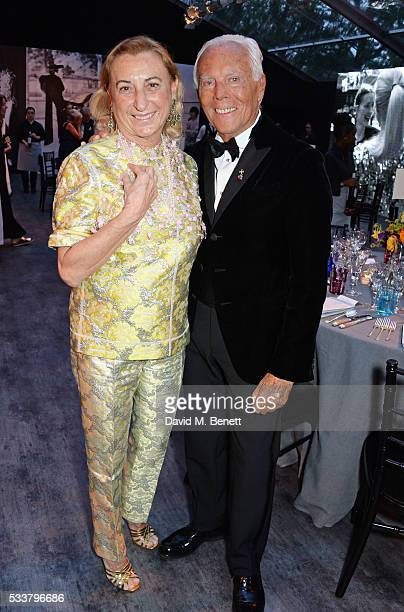 Miuccia Prada and Giorgio Armani attend British Vogue's Centenary gala dinner at Kensington Gardens on May 23 2016 in London England