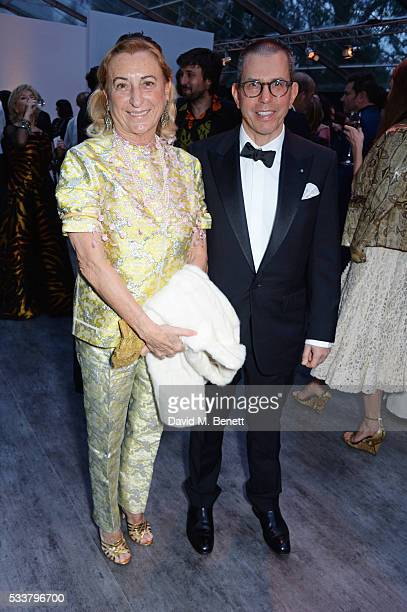 Miuccia Prada and Jonathan Newhouse attend British Vogue's Centenary gala dinner at Kensington Gardens on May 23 2016 in London England