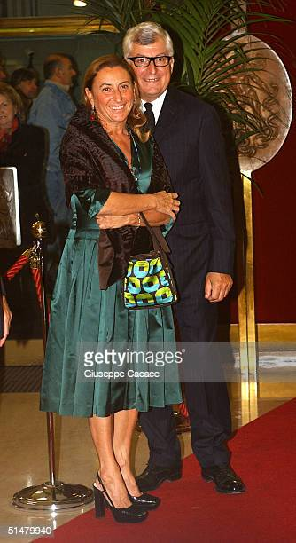 """Miuccia Prada and Patrizio Bertelli arrives at the Gala Premiere of film """"Stage Beauty"""" at Teatro Manzoni on October 14, 2004 in Milan, Italy. The..."""