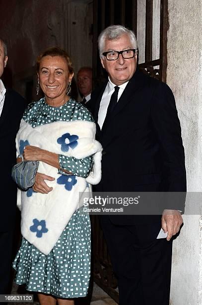 Miuccia Prada and Patrizio Bertelli attend the Dinner At 'Fondazione Cini, Isola Di San Giorgio' during the 2013 Venice Biennale on May 29, 2013 in...