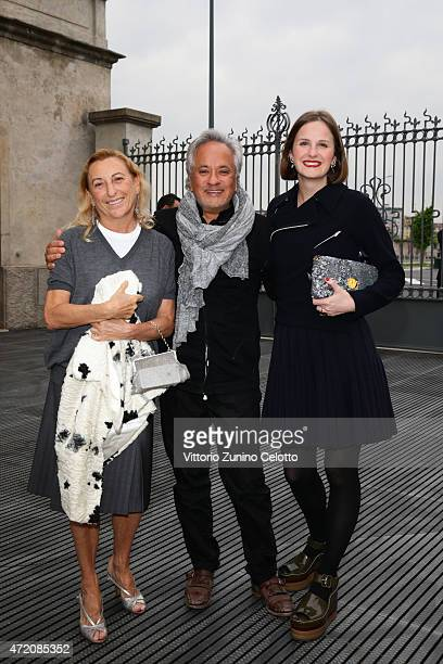 Miuccia Prada Anish Kapoor and Sophie Walker attend the Fondazione Prada Opening on May 3 2015 in Milan Italy