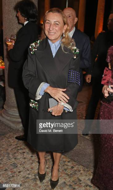 Miuccia Prada attends a private dinner hosted by Livia Firth following the Green Carpet Fashion Awards Italia at Palazzo Marino on September 24 2017...