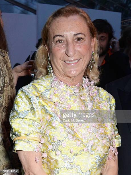 Miuccia Prada attends British Vogue's Centenary gala dinner at Kensington Gardens on May 23 2016 in London England