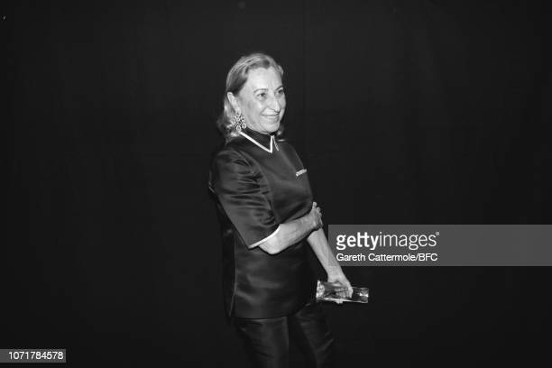 Miuccia Prada backstage at The Fashion Awards 2018 In Partnership With Swarovski at Royal Albert Hall on December 10, 2018 in London, England.