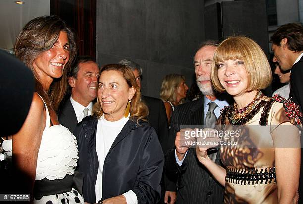 Miuccia Prada Domenico De Sole and Anna Wintour attend Tom Ford Boutique Opening during Milan Fashion Week Spring/Summer 2009 on June 23 2008 in...