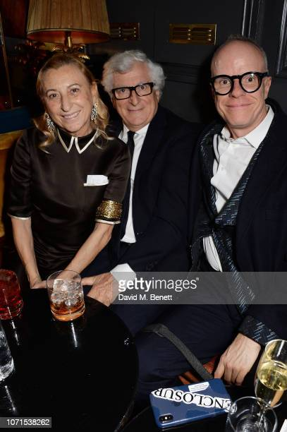 Miuccia Prada, Patrizio Bertelli and Hans-Ulrich Obrist attend a party hosted by Katie Grand and Jefferson Hack in honour of Miuccia Prada, winner of...