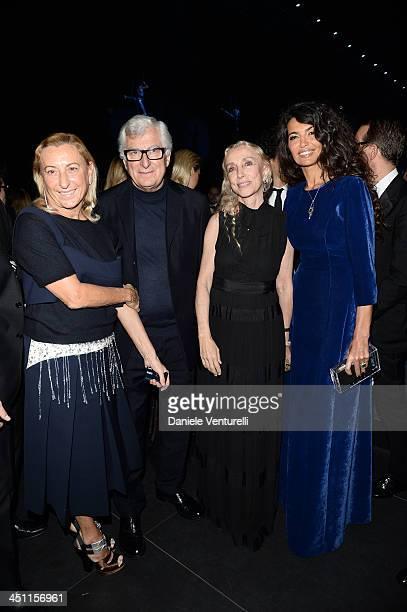 Miuccia Prada, Patrizio Bertelli, Franca Sozzani and Afef Jnifen attend The Pirelli Calendar 50th Anniversary Dinner on November 21, 2013 in Milan,...