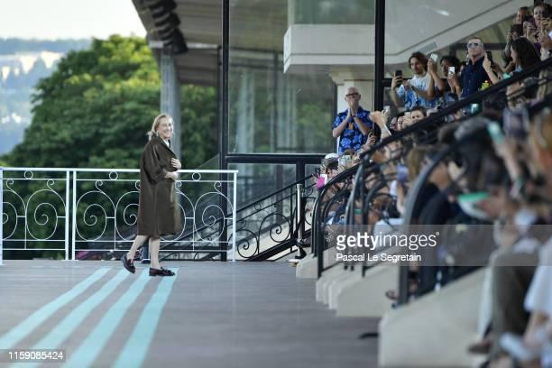 Miuccia Prada walks during the runway miu miu club show at Hippodrome d'Auteuil on June 29, 2019 in Paris, France.