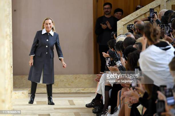 Miuccia Prada walks the runway after the Miu Miu Womenswear Spring/Summer 2020 show as part of Paris Fashion Week on October 01, 2019 in Paris,...