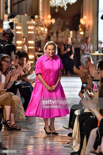 Miuccia Prada walks the runway during the finale of the Miu Miu 2019 Cruise Collection Show at Hotel Regina on June 30 2018 in Paris France