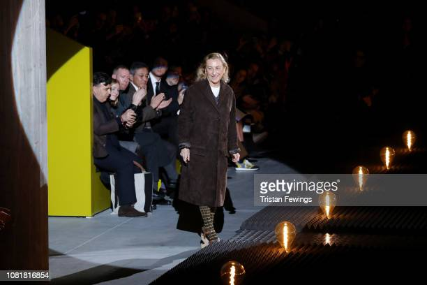 Miuccia Prada walks the runway during the finale of the Prada show during Milan Menswear Fashion Week Autumn/Winter 2019/20 on January 13, 2019 in...