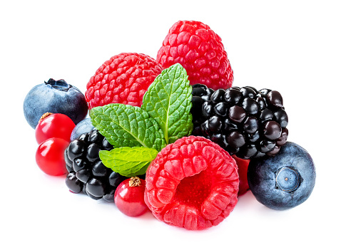 Mix berries with leaf. Various fresh  berries isolated on white background.  Raspberry, Blueberry,  Cranberry, Blackberry and Mint leaves 1128295890