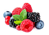 Mix berries with leaf. Various fresh  berries isolated on white background.  Raspberry, Blueberry,  Cranberry, Blackberry and Mint leaves