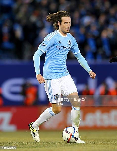 Mix Diskerud of New York City FC takes the ball in the second half against the New England Revolution during the inaugural game of the New York City...