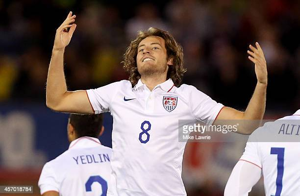 Mix Diskerud of the United States celebrates his first half goal against Ecuador during an international friendly at Rentschler Field on October 10...