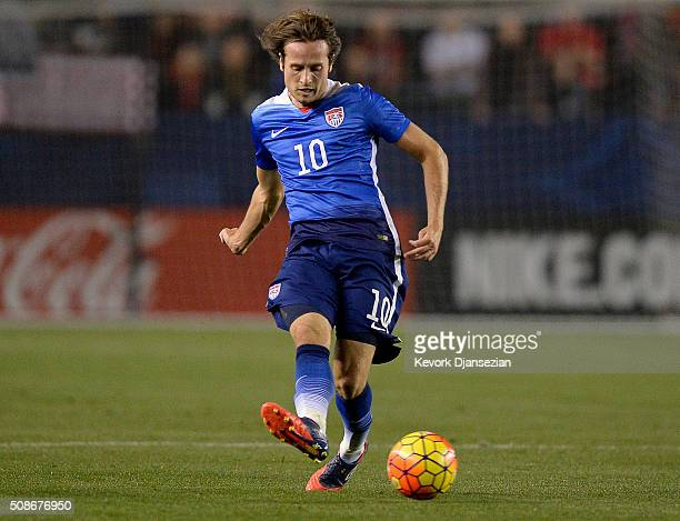 Mix Diskerud of the United States controls the ball against Canada during the first half of their international friendly soccer match at StubHub...