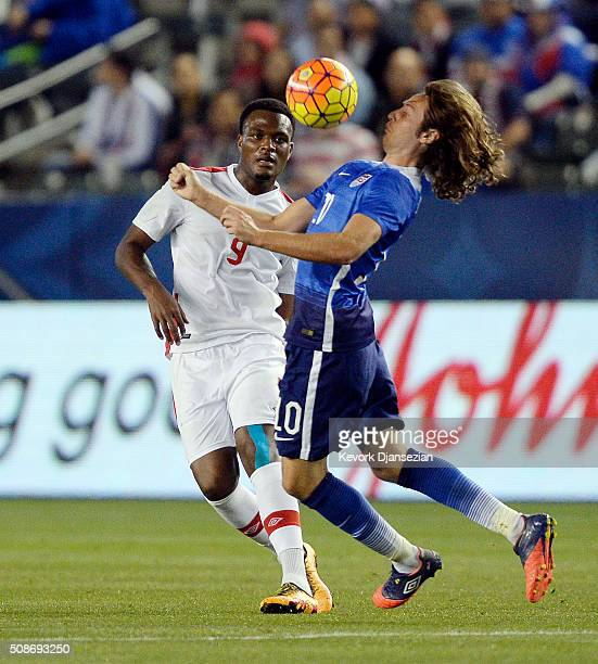 Mix Diskerud of the United States controls the ball against Cyle Larin of Canada during the first half of their international friendly soccer match...