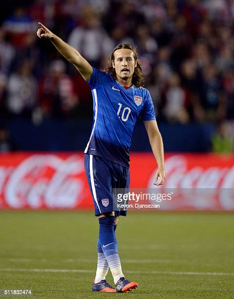 Mix Diskerud of the United States during the first half of the international friendly soccer match against Canada at StubHub Center on February 5...