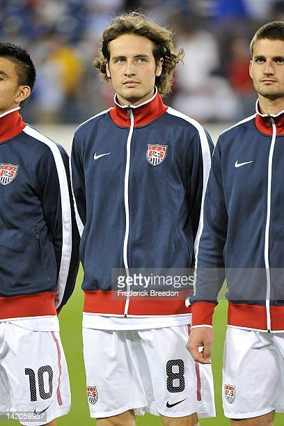 Mix Diskerud of the United States lines up on the field prior to a 2012 CONCACAF Men's Olympic Qualifying match against El Salvador at LP Field on...