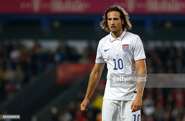 Mix Diskerud of the USA in action during the international friendly match between Czech Republic and USA on September 3 2014 in Prague Czech Republic