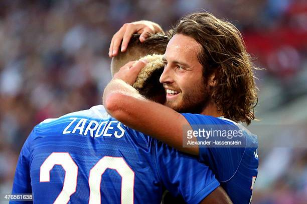 Mix Diskerud of USA celebrates scoring his first team goal during the international friendly match between Germany and USA at RheinEnergieStadion on...