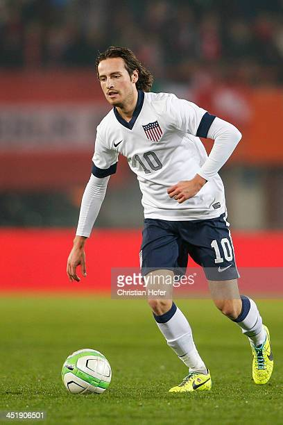 Mix Diskerud of USA controls the ball during the International friendly match between Austria and USA at the ErnstHappel Stadium on November 19 2013...