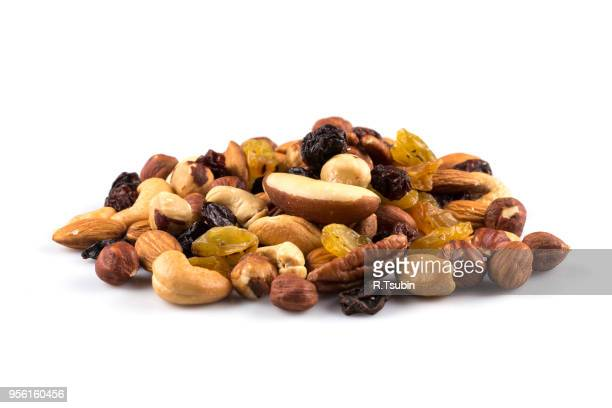 mix nuts and dry fruits  on a white background - brazil nut fotografías e imágenes de stock