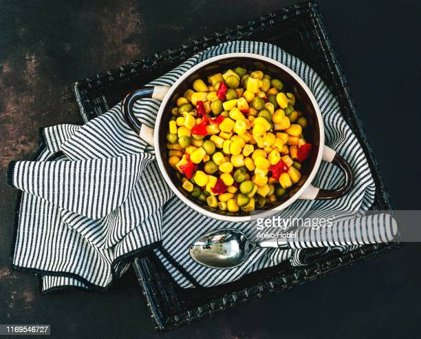 mix of canned vegetables - aniko hobel stock pictures, royalty-free photos & images