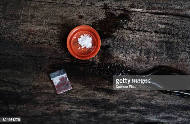 Mix of cocaine and heroin waits for a user near a railway underpass in the Kensington section of Philadelphia which has become a hub for heroin use...