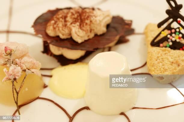Mix of Dessert Al Cucchiaio. Restaurant Guidopereataly-casa Vicina. Nizza 224 Street. Turin. Piedmont. Italy.