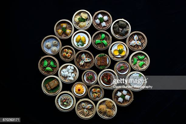 Mix of Dimsum dishes in a circle