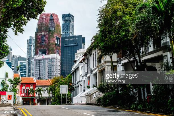 Mix of modern and historical architecture in Singapore.