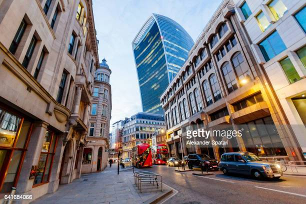 Mix of old and new architecture in the financial district of London, The United kingdom