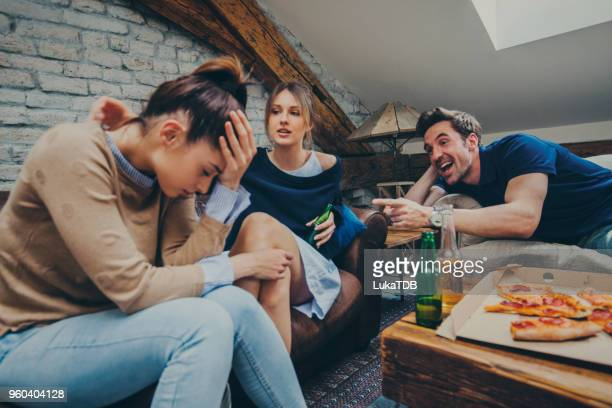 mix of pizza, beer and friends - judgement stock pictures, royalty-free photos & images