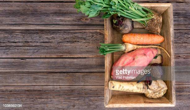 Mix of raw root vegetables