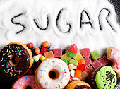 mix of sweet cakes, donuts and candy with sugar text