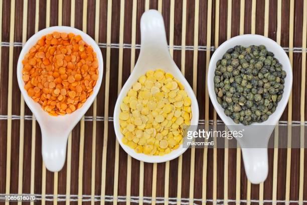 mix of various color legumes lentils - lentil stock pictures, royalty-free photos & images