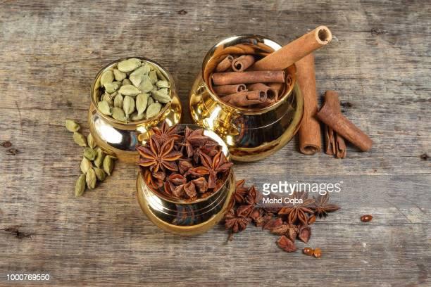 mix spice in golden metal pot