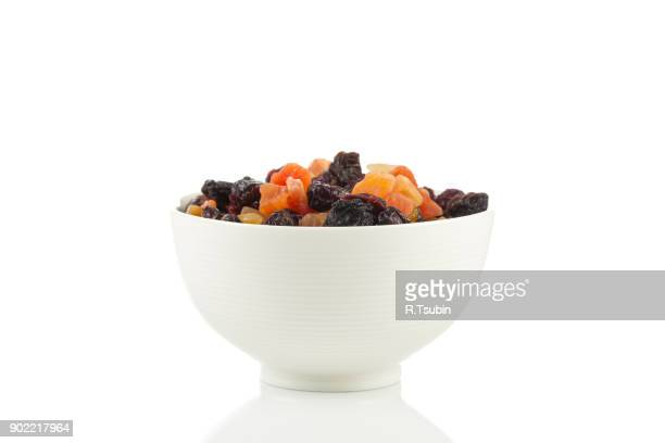 Mix variety of dried fruit in bowl
