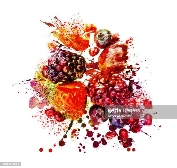 mixed berries illustration - season stock pictures, royalty-free photos & images