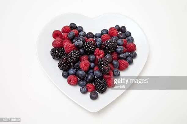 Mixed Berries on Heart Shaped Plate